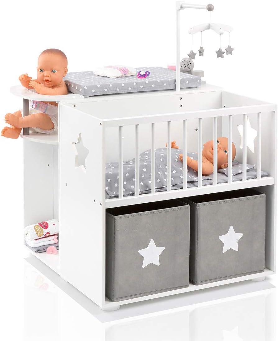 SUN Großes Puppenpflegecenter 5in1 Sternchen aus Holz (Weiß
