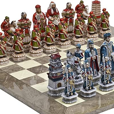 """Great Wall of China Luxury Chessmen from Italy & Greenwich Street Chess Board Giant Size: King 5 3/4"""""""