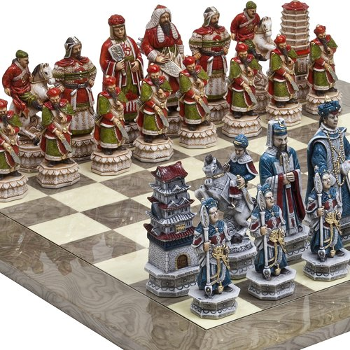 Great Wall of China Luxury Chessmen from Italy & Greenwich Street Chess Board Giant Size: King 5 3/4