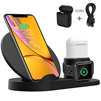 Bestrans Cargador Inalámbrico Rápido, Soporte de Carga 3 en 1 para Apple Watch 3/2/1 AirPods, 7.5W para iPhone XS/XS MAX/XR/X/ 8/8 Plus, 10W para ...
