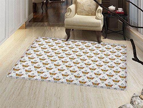 smallbeefly Tattoo Bath Mats for floors Orange Butterflies in Mystical Composition Soul Spirit and Nature Theme Door Mat indoors Bathroom Mats Non Slip Orange Yellow Pale Blue