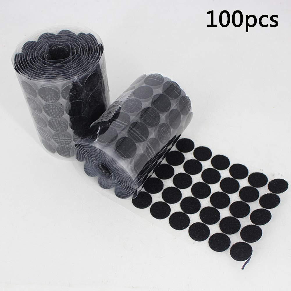 Diameter color blanco y negro blanco 100 cintas de velcro autoadhesivas de nailon Nany 10 mm de di/ámetro 10mm