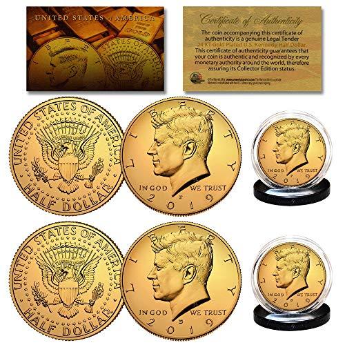 (2019 24K GOLD Clad JFK Kennedy Half Dollars 2-Coin Set P&D MINT w/COA & HOLDERS)