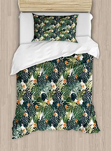 - Ambesonne Green Duvet Cover Set, Hawaiian Summer Aloha Pattern with Tropical Plants and Hibiscus Flowers, Decorative 2 Piece Bedding Set with 1 Pillow Sham, Twin Size, Teal Orange