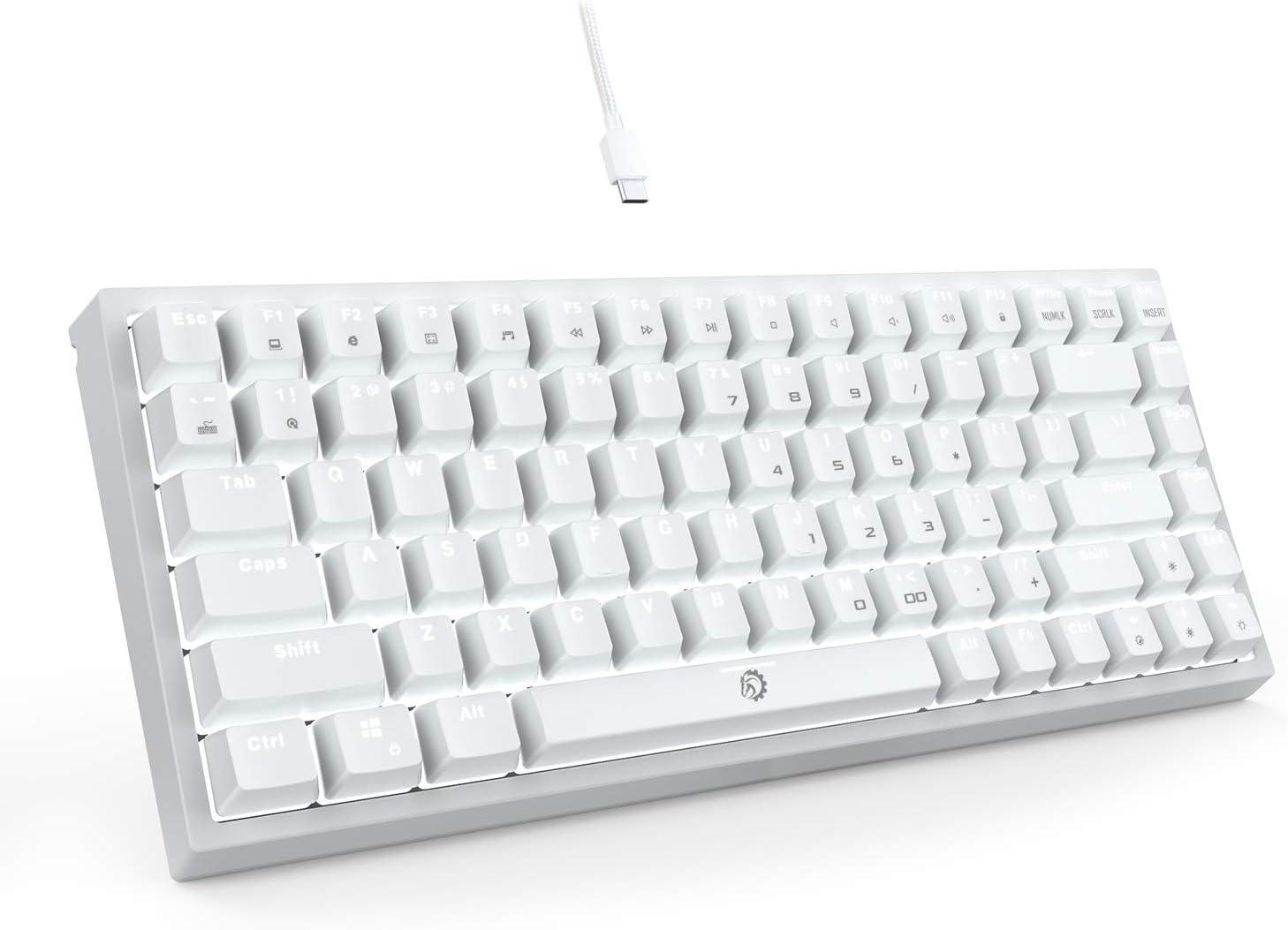 DREVO Gramr Teclado Mecánico Gaming Retroiluminación LED Blanca, Tamaño 75% Tipo TKL con 84 Teclas QWERTY Keyboard Interruptor Rojo,Blanco