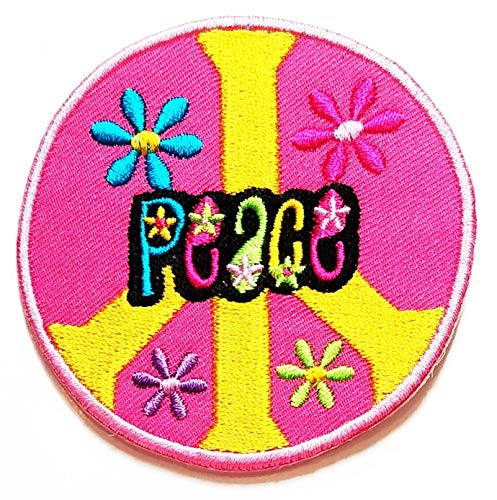 Nipitshop Patches Circle Pink Sweet Flower Peace Sign Symbol Hippie Retro Weed Love Cartoon Kid Baby Girl Jacket T-Shirt Patch Sew Iron on Embroidered Sign Badge Costume -