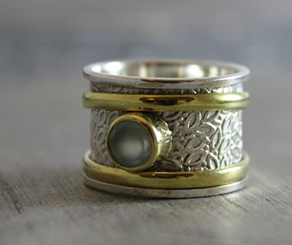 Aqua Chalcedony Sterling Silver Mixed Metals Brass Leaf Detailing Bohemian Spinning Fidget Ring Size 8
