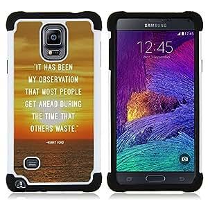 For Samsung Galaxy Note 4 SM-N910 N910 - Sunset Quote Inspiring Message Text /[Hybrid 3 en 1 Impacto resistente a prueba de golpes de protecci????n] de silicona y pl????stico Def/ - Super Marley Shop -