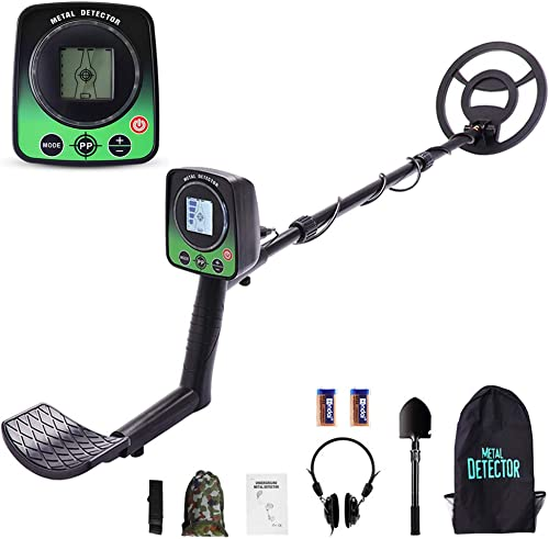 3 Modes Adjustable Waterproof Metal Detectors 42 -52 with Larger Back-Lit LCD Display, 1 X Carrying Bag, 1 X Headset, 1 X Folding Shovel, 2 X Batteries Included, for Adults and Kids
