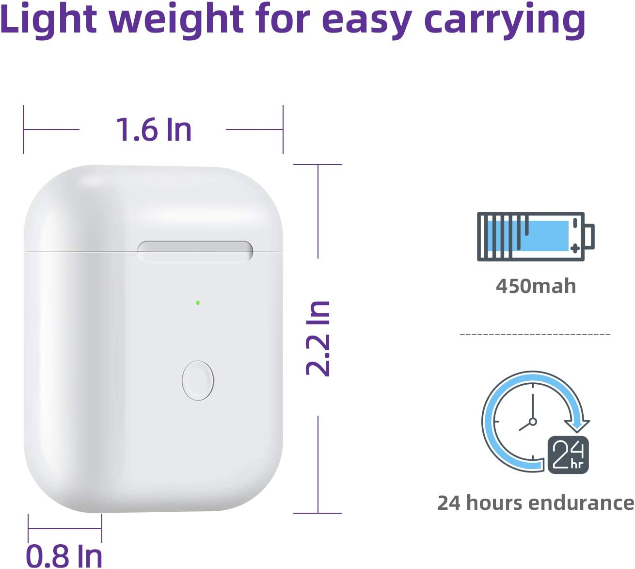 Wireless Airpods Charging Case with Bluetooth Pairing Sync Button,Air pods Charger Case Replacement,White JinStyles Compatible with AirPods 1 2