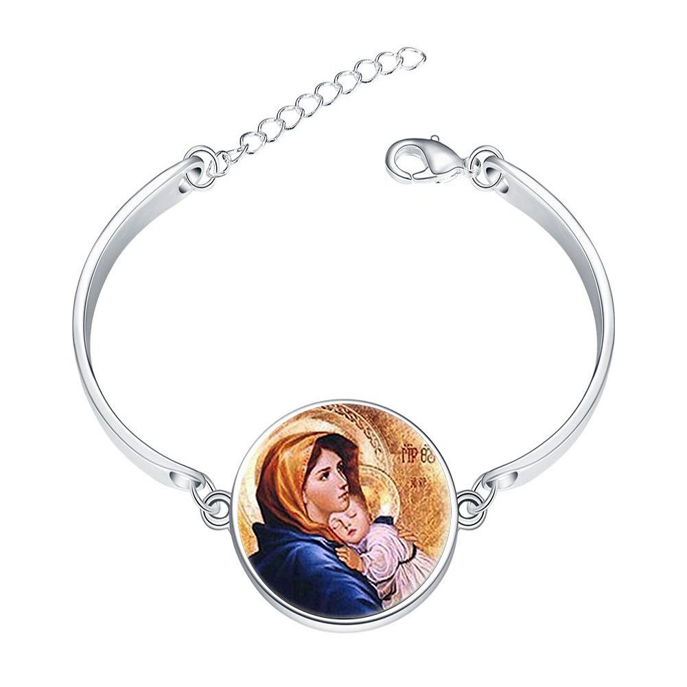 Adjustable Silver Bracelets Virgin Mary with Child Glass Art Print Mother of Baby Jesus Christ Christian Catholic Religious MadonnaHand Chain Link Bracelet Clear Bangle Custom Glass Cabochon Charm