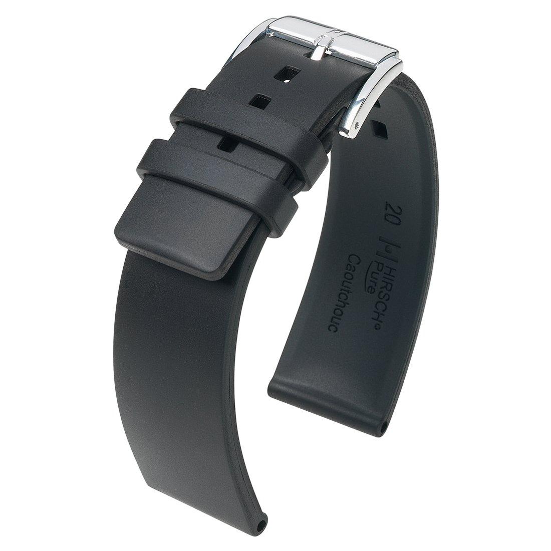 [HIRSCH]ヒルシュ 腕時計 革 ベルト ピュア 尾錠色:シルバー/ゴールド 時計側18mm 尾錠側16mm 尾錠色:<シルバー> 1.ブラック 1.ブラック 時計側18mm 尾錠側16mm 尾錠色:<シルバー> B076BKFXJM