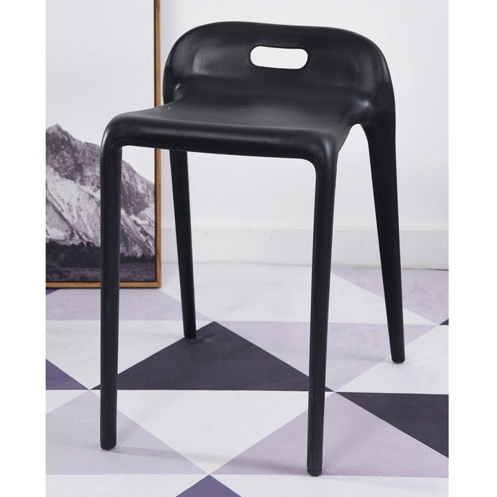 黒いプラスチックスタック可能なキッチンチェア防水シート現代風の屋内屋外レストランカフェリビングルームスツール、4のセット (色 : ブラック, サイズ さいず : Set of 1) B07DCSS6RPブラック Set of 1
