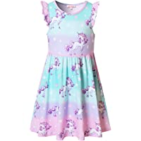 QPANCY Girls Unicorn Dresses Summer Flutter Sleeve Rainbow Party Clothes for Kids