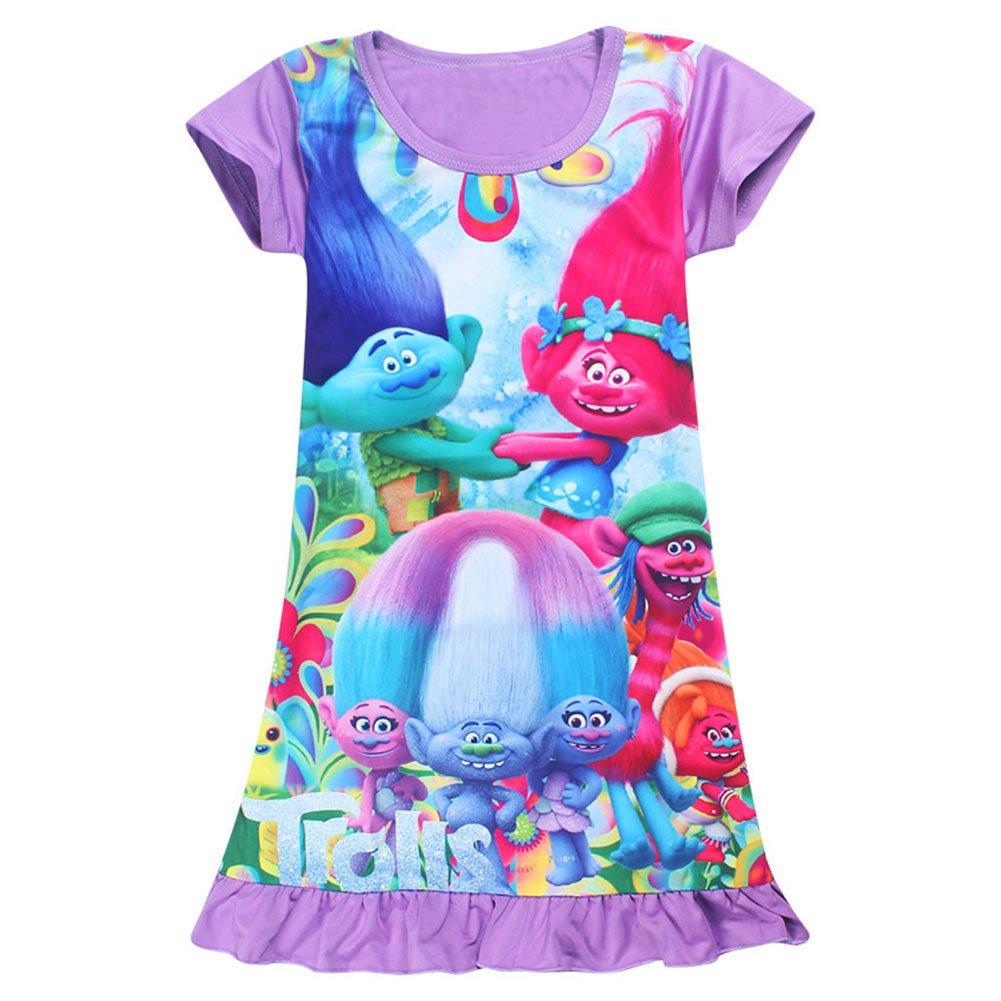 KIDHF Trolls Comfy Loose Fit Pajamas Girls Printed Princess Dress