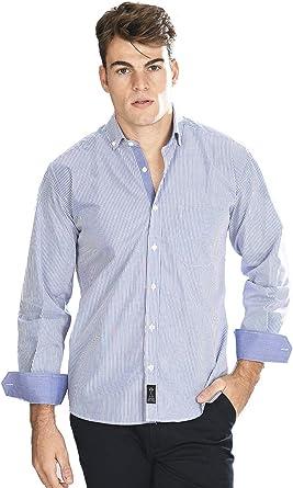 Camisa Manga Larga con Rayas Finas de Color Azul Marino y Blanco para Hombre - 4_L, Azul Marino: Amazon.es: Ropa y accesorios