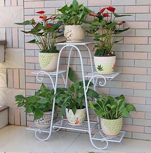 FZN Iron Multi-storey Flower Rack Green Radish Lacquered Balcony Flower Shelf Floor Living Room Interior Floor Gardening Hanging Planlers Baskets (Color : #1, Size : 76*23*73cm)