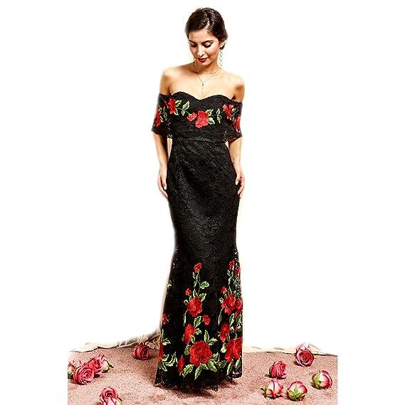 mejor sitio web ccf06 53fd9 Crazy4Bling Soieblu - Vestido Maxi con diseño Floral Bordado ...