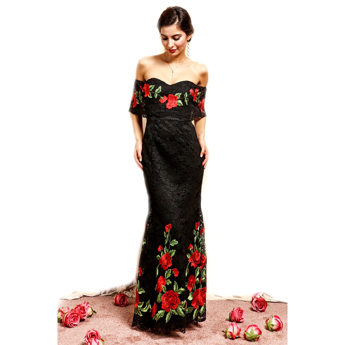 8c72c2dd47 Crazy4Bling Soieblu, Black & Red Embroidered Floral Off-The-Shoulder Maxi  Dress, Small at Amazon Women's Clothing store: