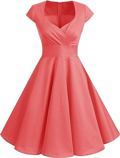TALLA 3XL. Bbonlinedress Vestido Corto Mujer Retro Años 50 Vintage Escote Coral 3XL