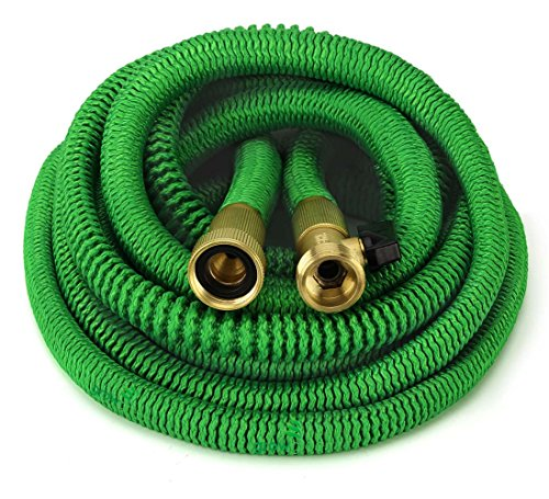 ALL NEW 2017 Garden Hose 50 Feet Expandable Hose With All Brass Connectors, 8 Pattern Spray And High Pressure, {IMPROVED} Expanding Garden Hose
