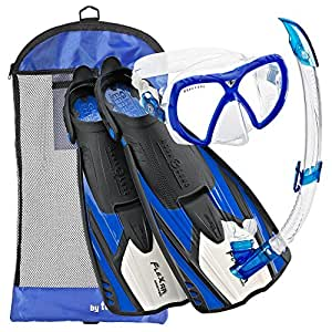 Aqua Lung Sport Flexar Mask Fin Snorkel Set, (Made In Italy), Blue, Black/Blue, X-Small/Small