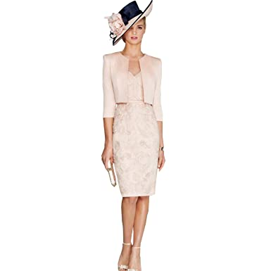 dressvip Pink Lace Half Sleeves Knee Length Formal Dress with Jacket (20)