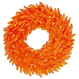 Vickerman K162449LED Wreath with 480 PVC tips & 150 Dura-lit LED Italian Style lights on wire, 48'' x 48'', Orange