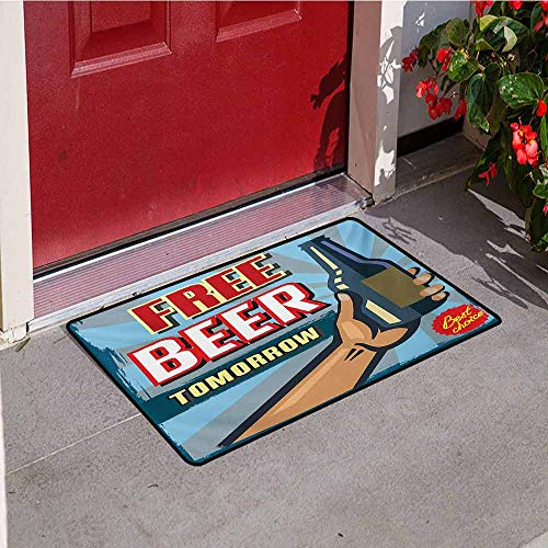 - Jinguizi Vintage Welcome Door mat Arm Holding Bottle with Free Beer Quote Beverage Pub Offer Sale Fun Murky Design Door mat is odorless and Durable W15.7 x L23.6 Inch Multicolor