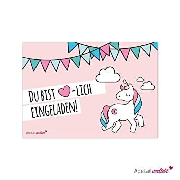 15 Süße Einladungskarten Motiv Einhorn, DIN A6 Umweltfreundlich    Kindergeburtstag, Einhörner, Mädchen,