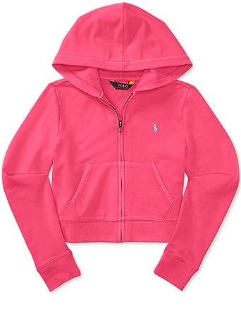 6a3ccd7692227 Amazon.com  RALPH LAUREN Girls  Full-Zip Hoodie Neon Pink (XL (16 ...
