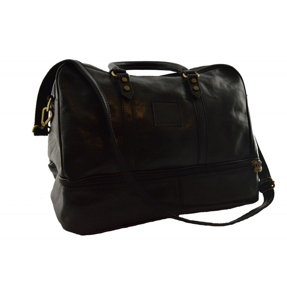 Made In Italy Leather Travel Bag Color Black - Travel Bag B014T6HPSK