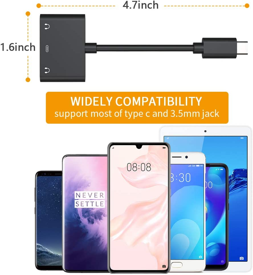 USB C 3.5mm Headphone Jack Adapter Pixel 3//3 XL//2//2 XL Dual Earphone Digital Smart DAC Audio and Type C Charger Cable Connector Compatible for iPad Pro HTC Essential Phone Huawei P20 and More