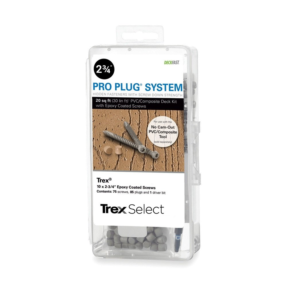 Pro Plug PVC Plugs and Epoxy Screws for Trex Winchester Gray, 85 Plugs for 20 sq ft, 75 Epoxy Screws