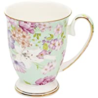FlorisHome Fine Bone China Early Summer Rose Coffee Mug Tea Cup 11 oz 330 ml Light Green
