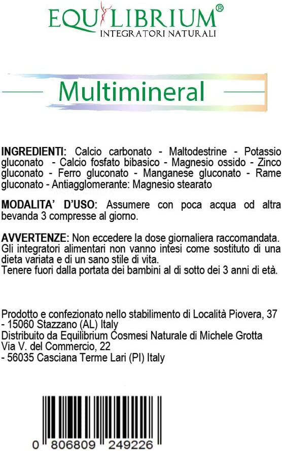 EQUILIBRIUM - INTEGRATORI NATURALI Multimineral 100 tabletas de 400 mg: Amazon.es: Salud y cuidado personal
