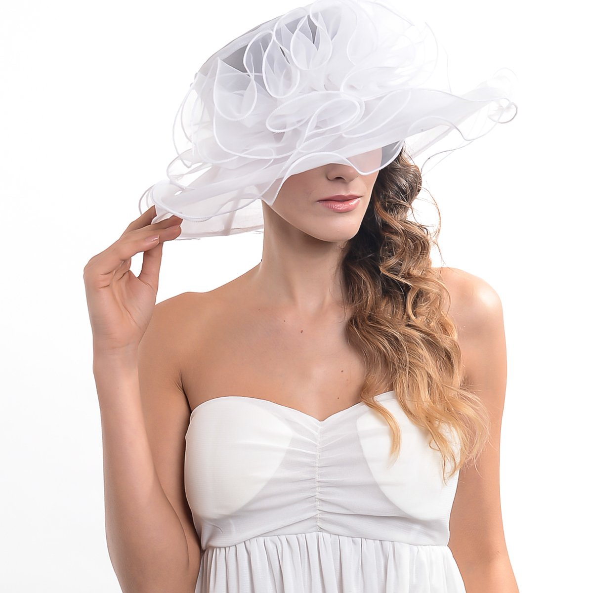 Women's Kentucky Derby Dress Tea Party Church Wedding Hat S609-A (S019-White) by HISSHE (Image #2)