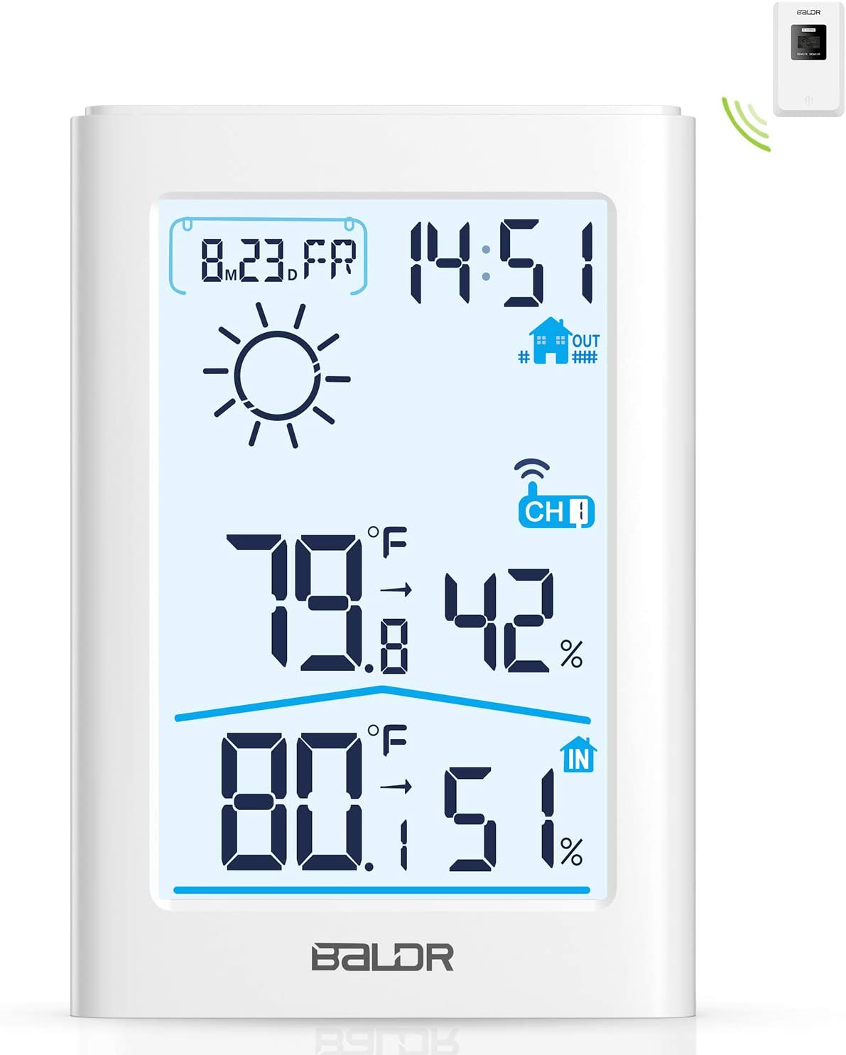 Slopehill Weather Station, Indoor Outdoor Thermometer Hygrometer with Remote Sensor, Digital Wireless Temperature and Humidity Monitor with Weather Forecast, Date/Time Display, Alarm Clock, Backlight