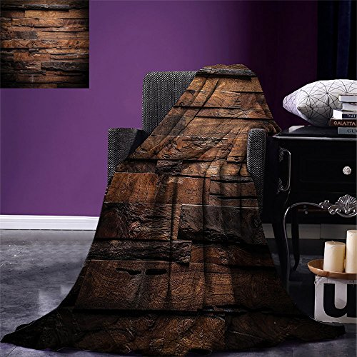 smallbeefly Chocolate Digital Printing Blanket Rough Dark Timber Texture Image Rustic Country Theme Hardwood Carpentry Summer Quilt Comforter Brown Dark Brown by smallbeefly (Image #6)