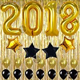 2018 BALLOONS GOLD DECORATIONS BANNER - Graduations Party Supplies Decorations - Graduation Party Supplies New Year eve decoration - Metallic Gold Foil Fringe Curtain, 10 Foot