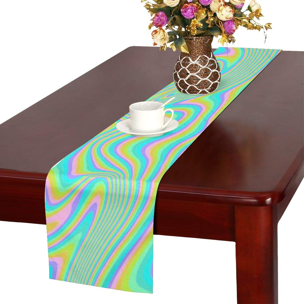 Jnseff Rainbow Liquid Color Paint Colorful Design Table Runner, Kitchen Dining Table Runner 16 X 72 Inch For Dinner Parties, Events, Decor