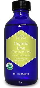 Zongle USDA Certified Organic Lime Essential Oil, Safe to Ingest, Citrus Aurantifolia, 1 Oz