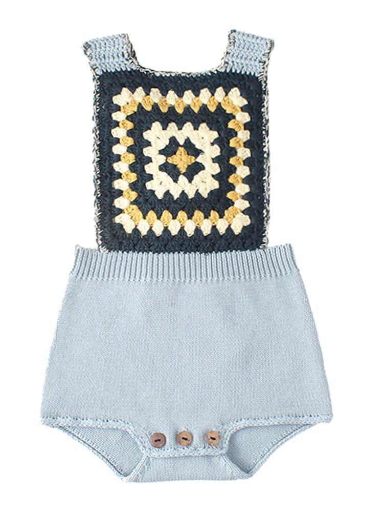 Pinleck Newborn Baby Girls Knit Strap Romper Geo Graphic Striped Jumpsuit Bodysuit