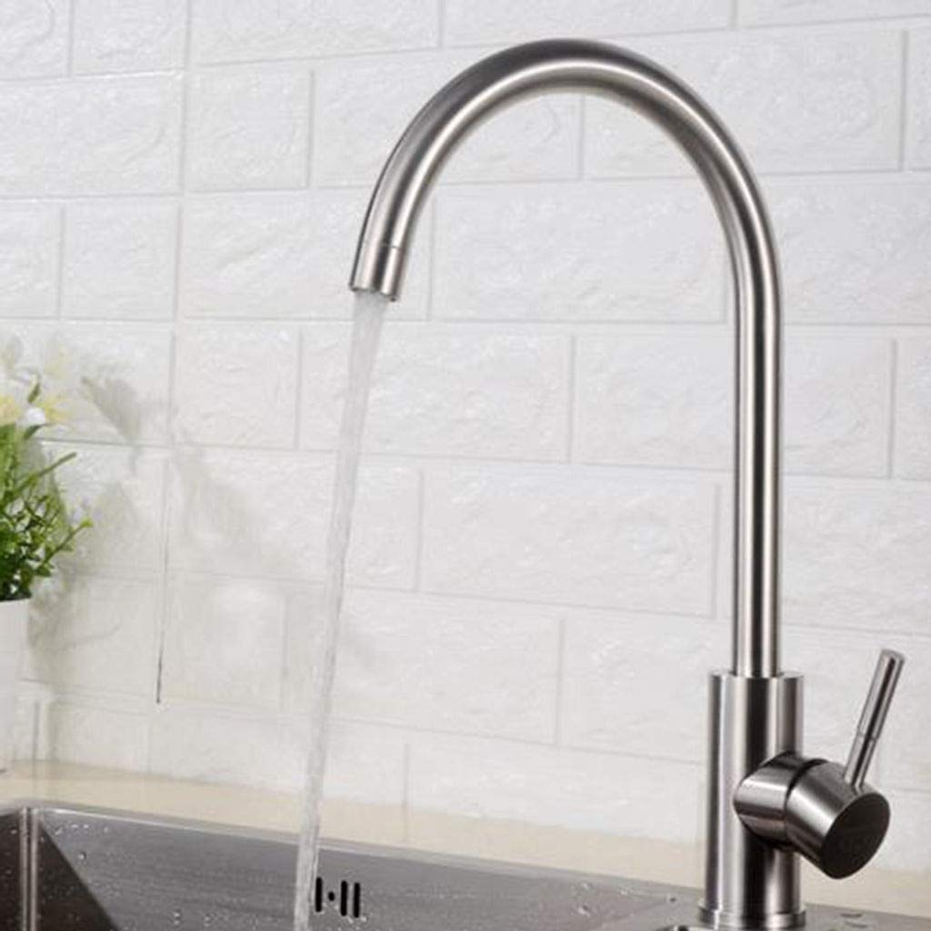B 304stainless Steel Kitchen Sink Faucet, Hot and Cold Washbasin Hose with Drain Assembly Head hot and Cold Stainless Steel hot and Cold Kitchen Faucet High arc with Drain Assembly -D