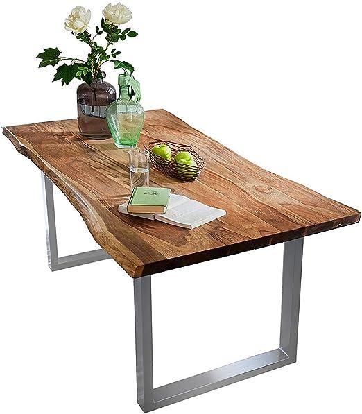 Tisch 160 x 85 cm, Platte Akazie, Gestell Stahl