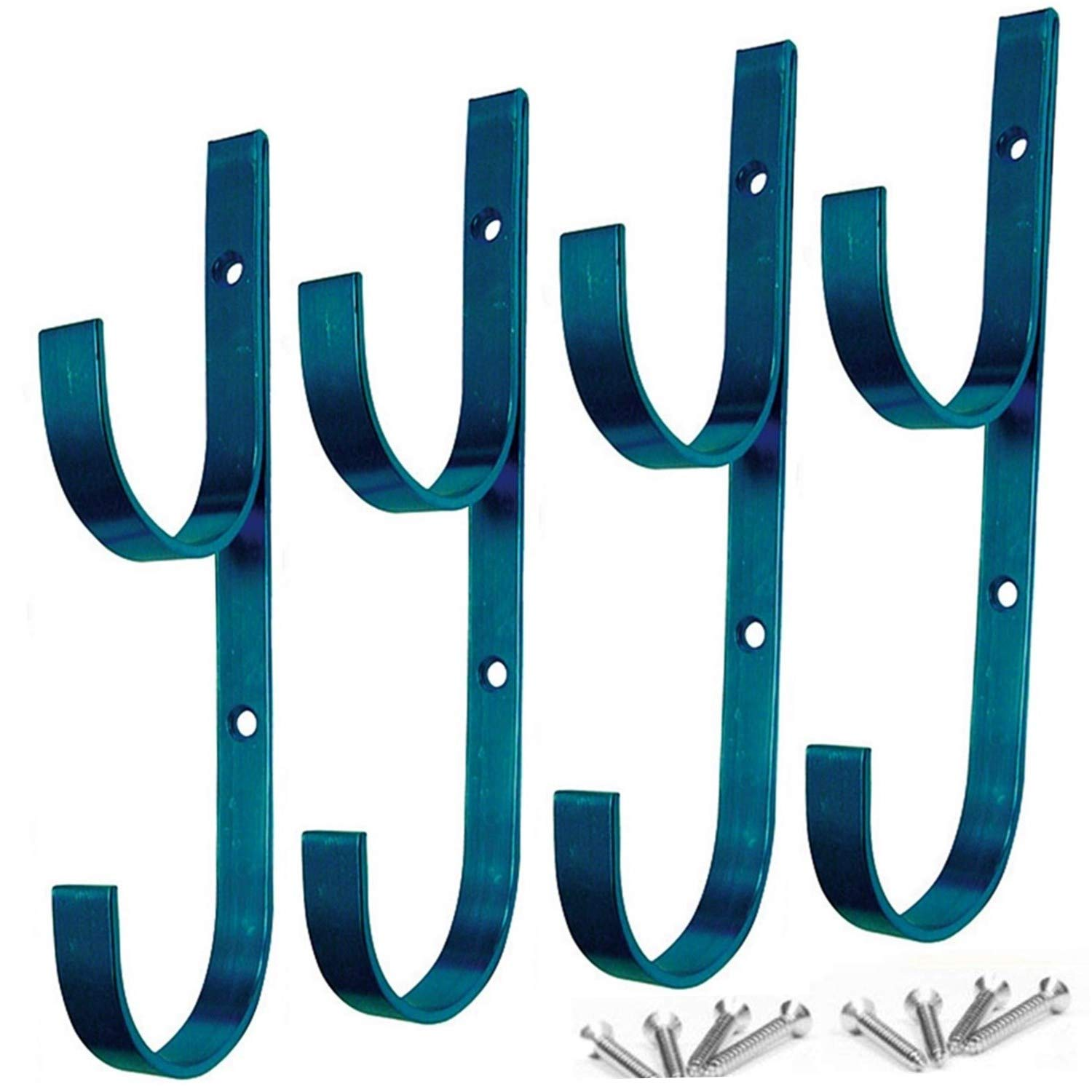 MENG ZHI AO 4 PCS Set Pool Pole Hangers Heavy Duty Blue Aluminium Holder Hooks with Screws Perfect Hooks for Swimming Pool,Telescopic Poles,Skimmers,Nets Brushes,Vacuum Hose,Garden Equipment Etc