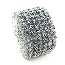 "Crazy Genie 4"" x 10"" Yards Diamond Flower Shape Mesh Wrap Roll Faux Rhinestone Crystal Ribbon for Wedding Decorations, Party Supplies, Dress Appliques (Silver)"