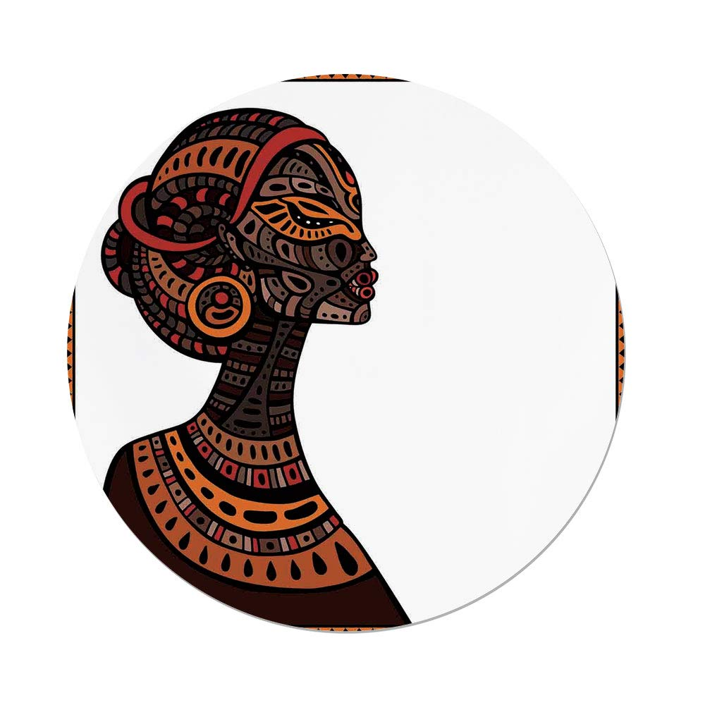 iPrint Polyester Round Tablecloth,African,Tribal Exotic Beauty Woman Figure Traditional Mask Totem Illustration Decorative,Brown Cinnamon,Dining Room Kitchen Picnic Table Cloth Cover Outdoor in