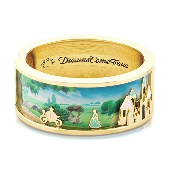 Brazalete Disney Couture 14 kt oro y esmalte de Cenicienta y magia castillo escena de ancho https://amzn.to/2Rf5K8f