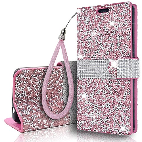 Samsung Galaxy Note9 Wallet Wristlet Lanyard Stand Case Shiny Glitter Sparkle Crystal Bling Stars Flip Card Slot Luxury Phone Case Cover for SamsungGalaxy Note 9 (Pink, Samsung Galaxy Note9)